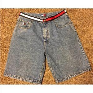 Tommy Hilfiger Jean Shorts Flag Logo Vtg Rare